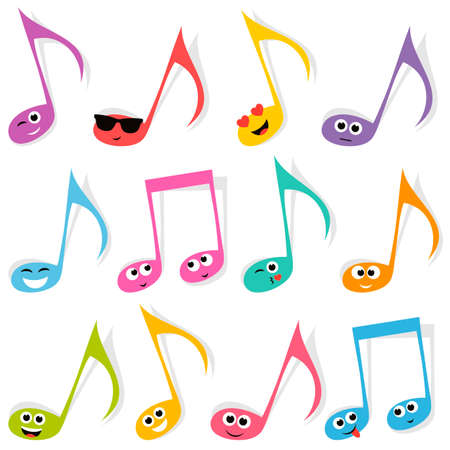 smileys: Set of cute colorful note smileys Illustration