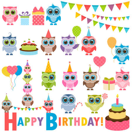 birthday party: Birthday party set with owls Illustration