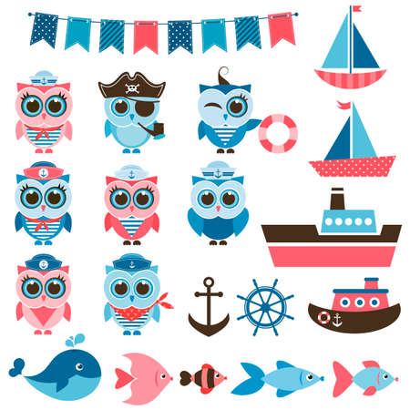 pirate crew: sailor owls, fish and water transport
