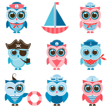 sailor owls and owlets set Ilustrace
