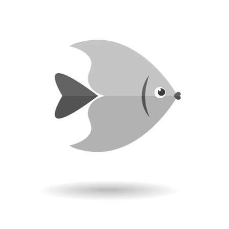 grey: Grey fish flat icon Illustration