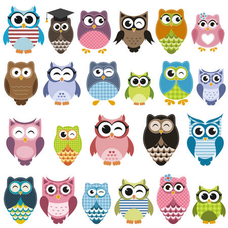 Set of cartoon owls with various emotions
