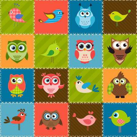 patchwork background: Patchwork background with birds and owls Illustration