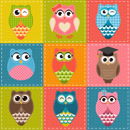 patchwork: Patchwork background with owls
