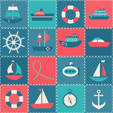 patchwork: Patchwork background with sea transport Illustration