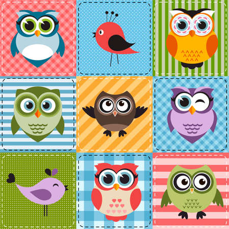patchwork: Patchwork with owls and birds