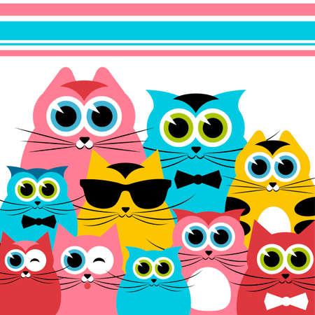 cat's eye glasses: Funny cats family Illustration