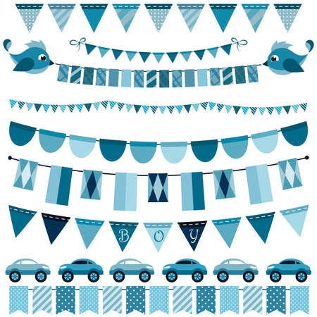 for boys: Blue flags, bunting and garland set for boys
