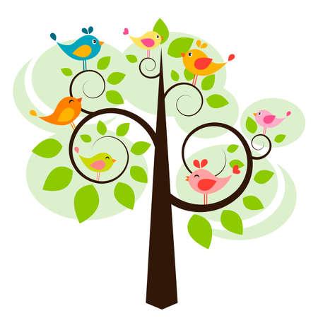 tree with birds: tree with birds Illustration