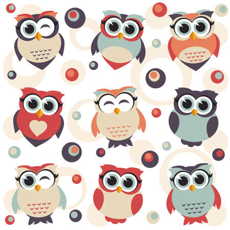 owl illustration: Background with cute owls