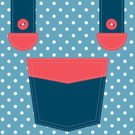 cotton  jeans: blue pocket and suspenders Illustration