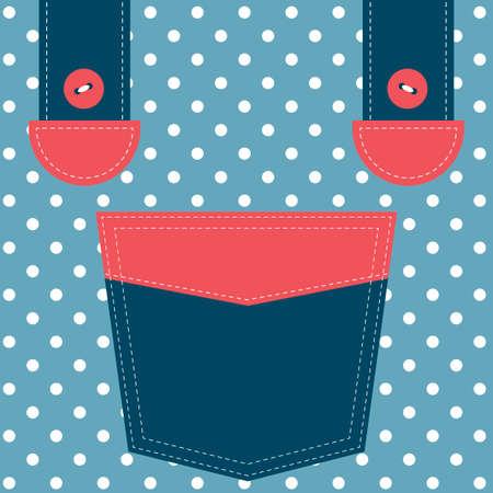 blue pocket and suspenders Illustration