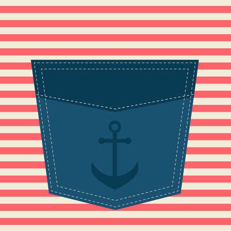 pocket: blue pocket with anchor