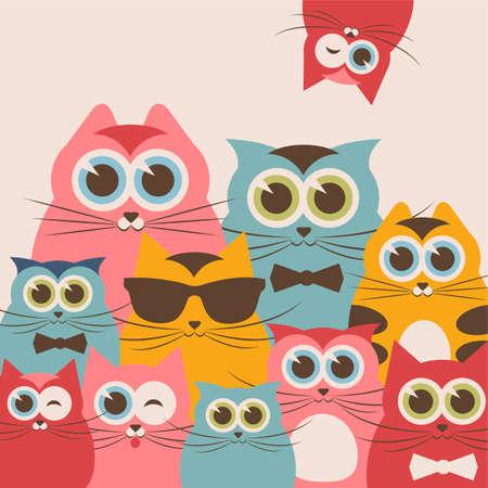 cat's eye glasses: Cats family Illustration
