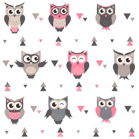 baby stickers: Background with owls, owlets and triangles