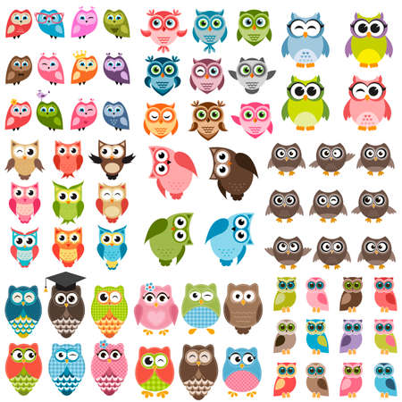 Owls and owlets set Stock Illustratie