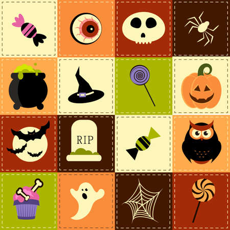 patchwork: Patchwork background with Halloween elements Illustration