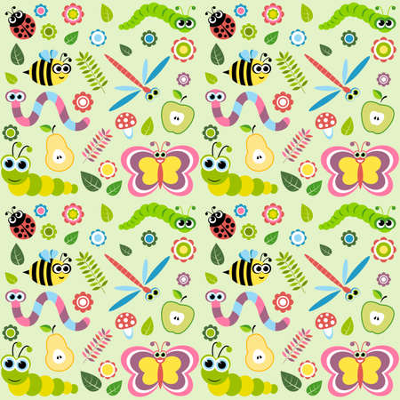 warble: Pattern with cartoon insects Illustration