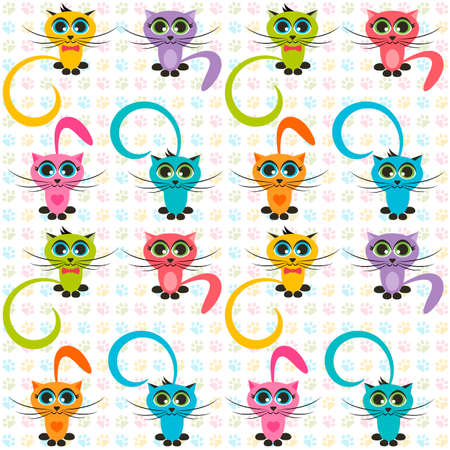 tot: Pattern with color cats
