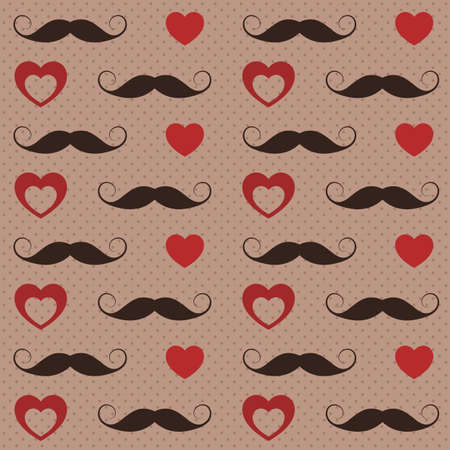 mustaches: Pattern with mustaches and hearts