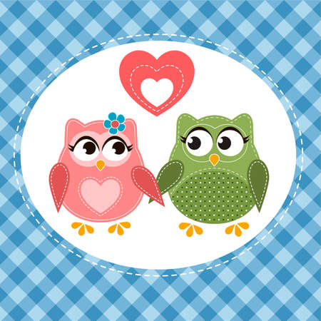 cute love: Two cute owls in love