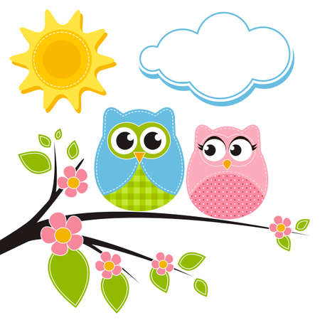 Two owls on the branch Stock Illustratie