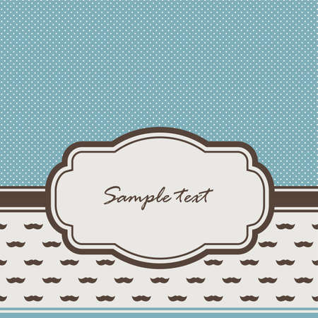 baby blue: background with vintage frame and mustaches Illustration