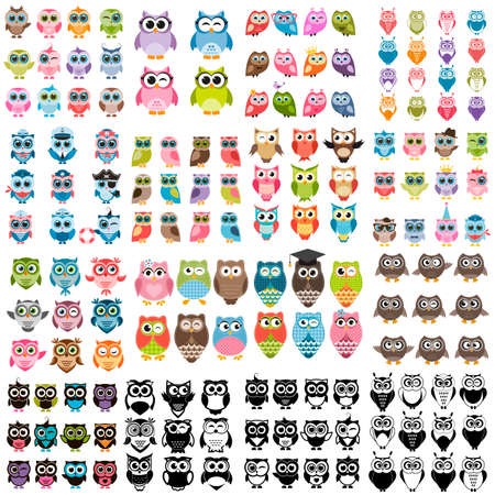 colorful heart: Big set of owls