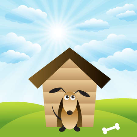 grass field: Dog in house on green grass field Illustration