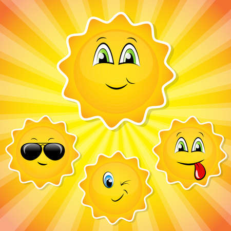 smileys: set of sun smileys