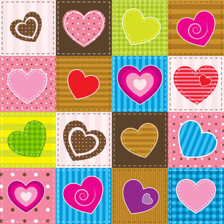colorful patchwork with hearts Stock Illustratie