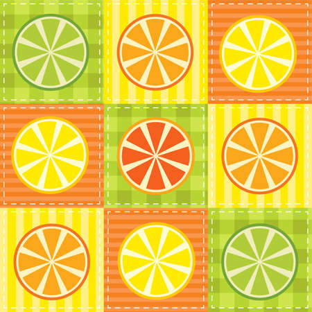 lemon lime: patchwork with lemon, lime, orange and grapefruit Illustration