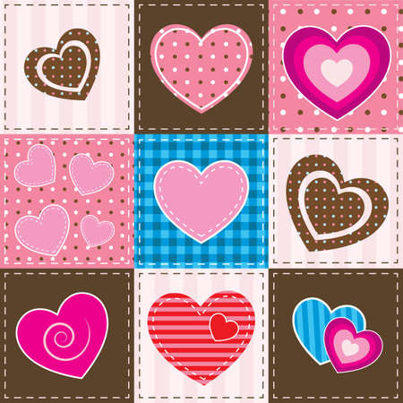 patchwork: patchwork with textured hearts