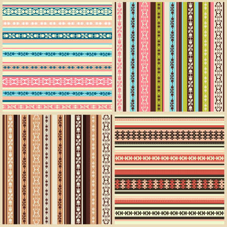 style geometric: set of color seamless backgrounds with ornaments