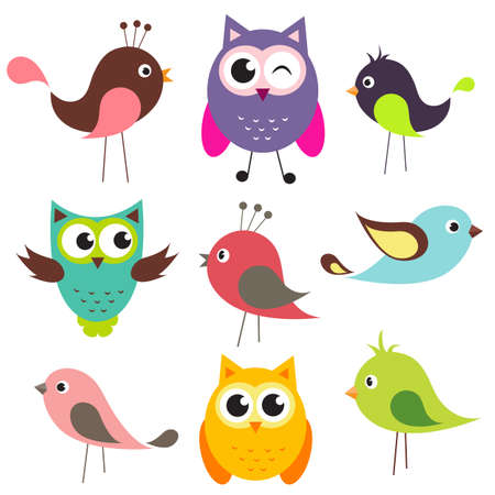 aves caricatura: vector conjunto de pájaros lindos Vectores
