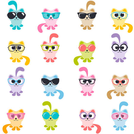 set of colorful cats with sunglasses