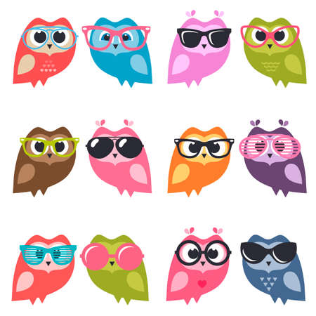 children party: Cute owlets and owls with sunglasses Illustration