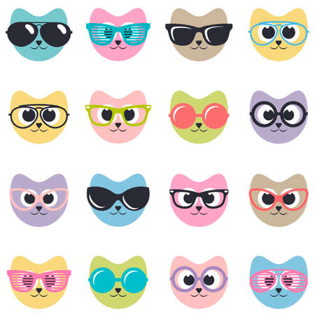 perforating: set of cats with sunglasses