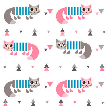 tot: Pattern with cats in frock