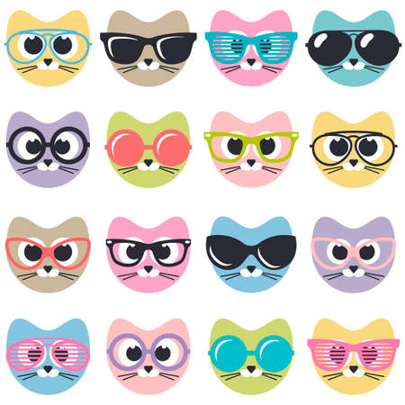 set of cute cats with sunglasses Illustration