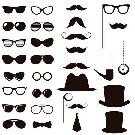 medical headwear: Black retro gentleman elements set