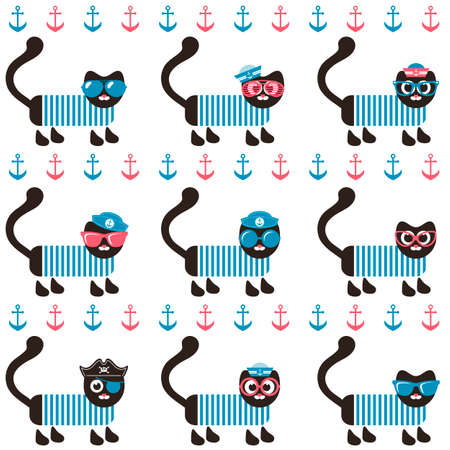 tot: background with sailor cats and anchors Illustration