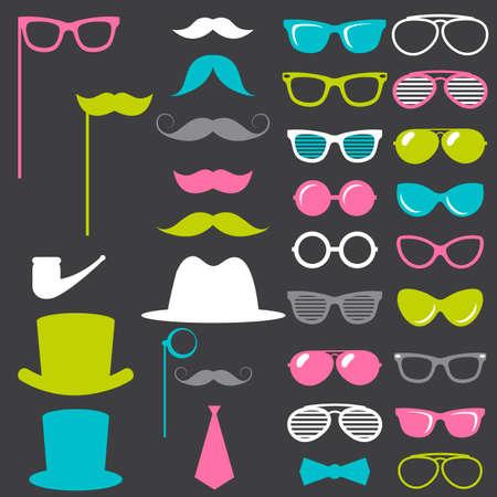 medical headwear: Colorful retro gentleman elements set