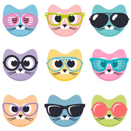 set of cartoon cats with sunglasses Illustration