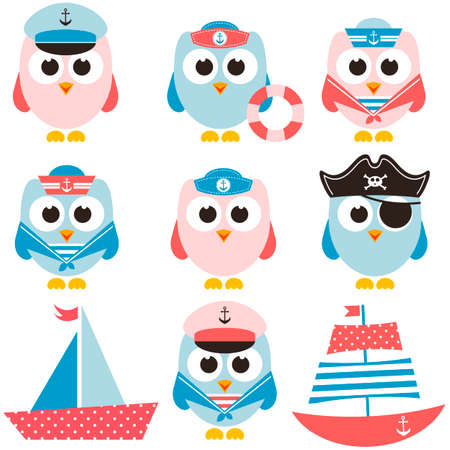 pirate crew: set of sailor owls and boats