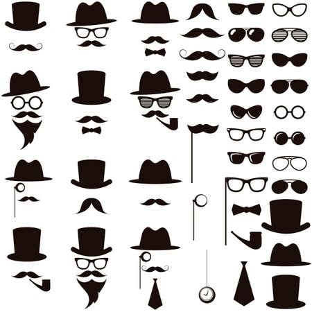 medical headwear: Black retro gentleman icons set Illustration