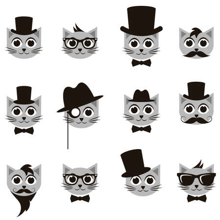 medical headwear: retro gentleman and hipster cat icons set