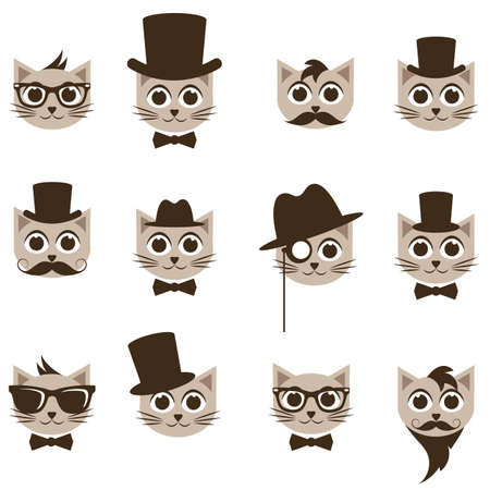 medical headwear: hipster cat icons set