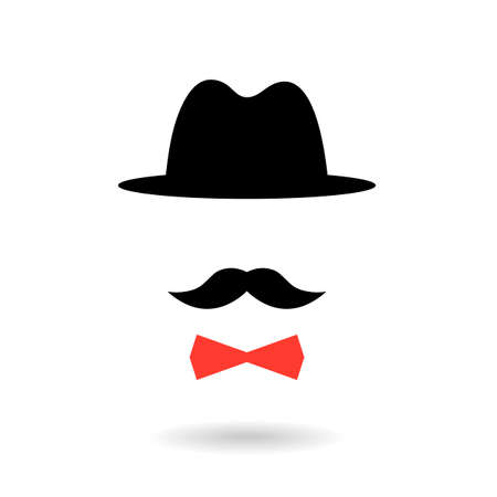 black head and moustache: Icon of retro gentleman isolated on white
