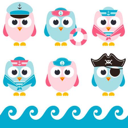 pirate crew: set of sailor owls Stock Photo